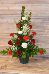 Rose and Carnation Mix, Red and White, Sympathy