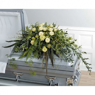 Rose and Greenery Casket Spray Sympathy