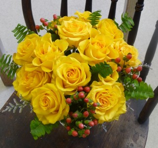 Rose and Hypericum Vase