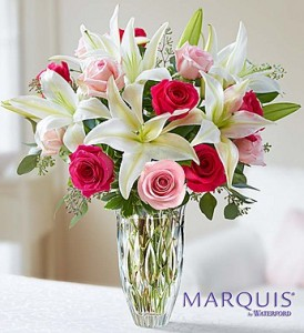 Rose and Lily Bouquet In Marquis by Waterford Crystal Vase in Gainesville, FL   PRANGE'S FLORIST