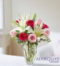 Rose and Lily Bouquet in Marquis by Waterford vase