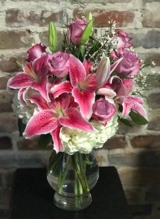 Rose and Lily Bouquet Vased Arrangement