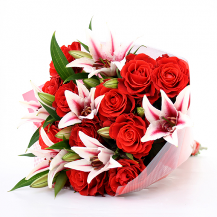 Rose and Lily Loose Bouquet