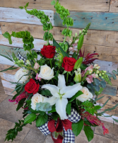 Rose and Lily Spectacular  Valentine's arrangement