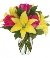 Rose and Lily Surprise Vase Arrangment