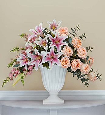 Rose and Lily Urn Sympathy