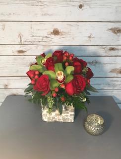 Rose and Orchid Arrangement Valentines Day Arrangement