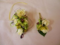 ROSE AND ORCHID CORSAGE AND BOUTONNIERE PROM FLOWERS