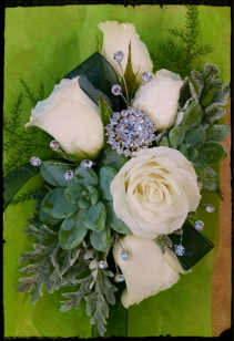 Corsage rose and succlent  with sparkle Corsage