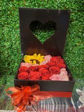 Rose and sunflower heart box  20 flowers