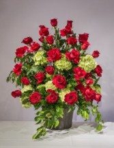 Red Rose Hydrangea Sympathy Arrangement