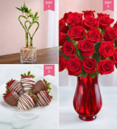 Rose Arrangement & Chocolate coated strawberry