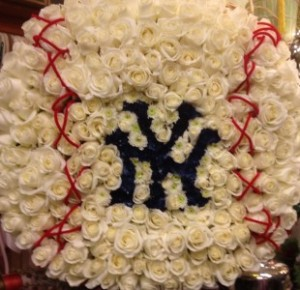 Rose Baseball Standing Spray Custom Funeral  Work in Northport, NY | Hengstenberg's Florist