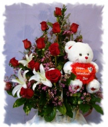 Rose Basket With A Side Bear Valentineu0027s Day