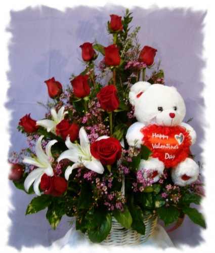 rose basket with a side bear valentine's day in hawaiian gardens, Ideas