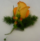 Rose & Berry Boutonniere Wedding Flowers