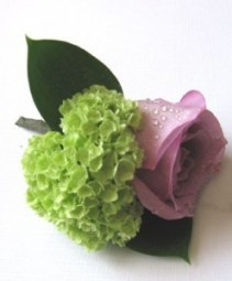 rose boutonniere lav. rose and hydrangea