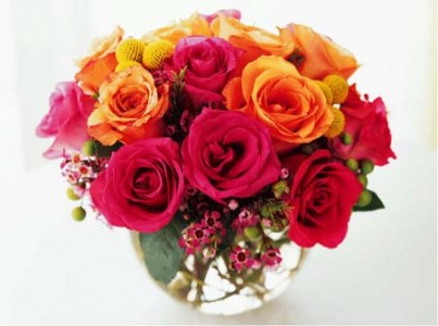 Rose Bowl Love Vase Arrangement