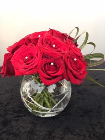 Rose Bowl One dozed roses with embellishments