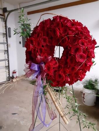 rose bowl wreath wreath full of red roses