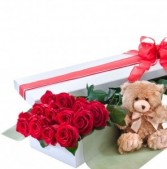 Rose Box & Teddy Bear