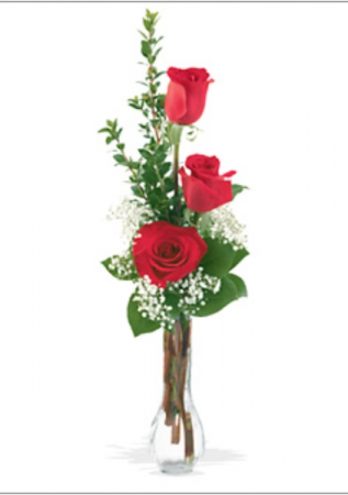 Rose bud vase Bud vase of 3 roses