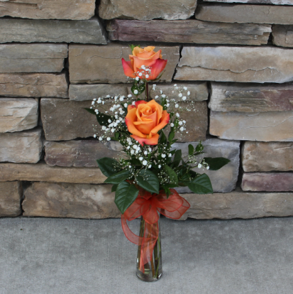 Rose Bud Vase - Orange Classic Rose Arrangement