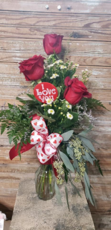 Rose bud vase valentine's day