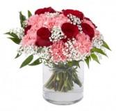 Rose and Carnation Bouquet Cylinder Vase