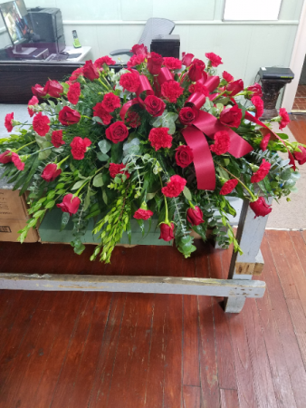 Rose & Carnation Tribute Casket Spray