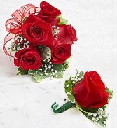 rose corsage and rose boutonniere