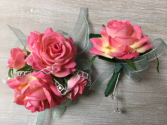 P100 - Rose Corsage set Wrist Corsage and Boutonniere