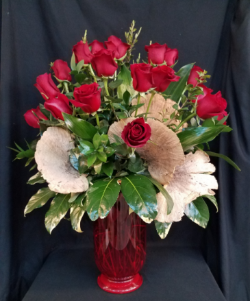Classic  Elegant 18 Red Rose Vase Arrangement
