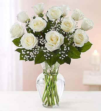 Rose Elegance 12 Rose White Rose Arrangement
