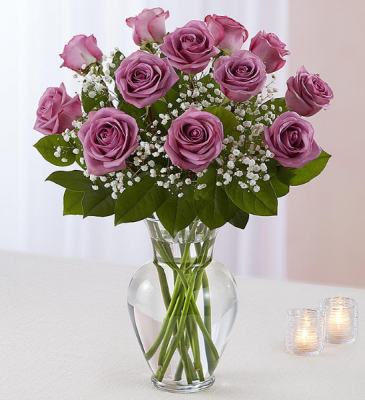 Rose Elegance  Dozen Purple Roses