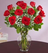 Rose Elegance Dozen Red Roses Vase Arrangement