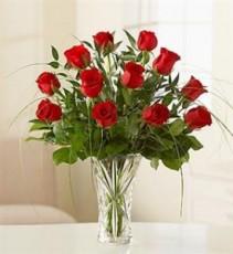Rose Elegance in Crystal Vase All around
