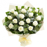 Rose Elegance Premium Long Stem White Roses Hand tied bouquet