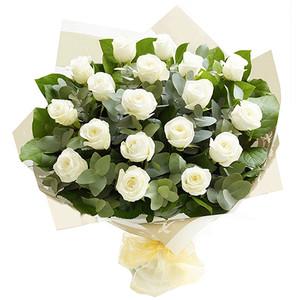 Rose Elegance Premium Long Stem White Roses Hand tied bouquet