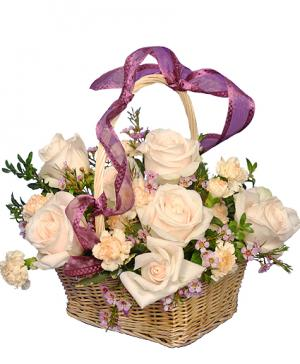 Rose Garden Basket Ivory Roses Arrangement in Wilton, NH | WORKS OF HEART FLOWERS