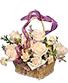 Rose Garden Basket Ivory Roses Arrangement