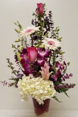 Rose gebera orchid arrangement