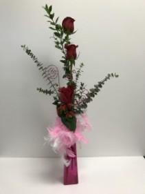 Rose Glamour Bud Vase Fresh Roses