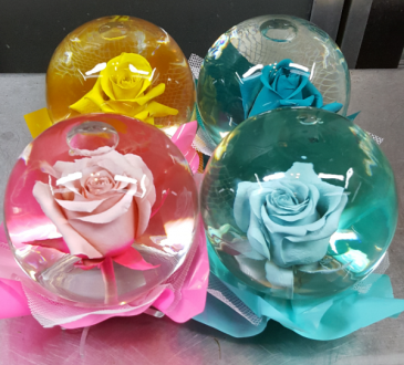 Rose Globe (Local Delivery Only) Purple,Yellow,Pink,Blue,Teal