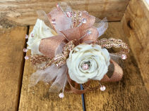 Rose Gold Beauty Forever Rose Corsage on Deluxe Bracelet