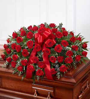ROSE HALF CASKET COVER  in Beaufort, SC | CAROLINA FLORAL DESIGN