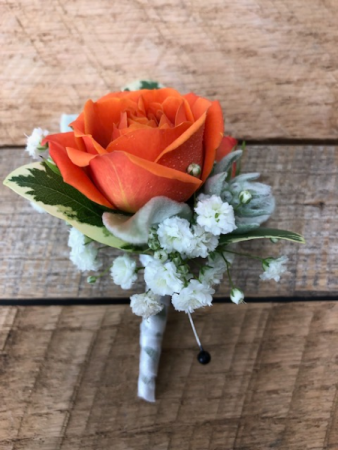 Rose, Lambs Ear Baby Breath Boutonniere