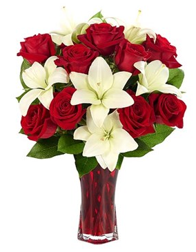 Rose & Lily Celebration Vase Arrangement