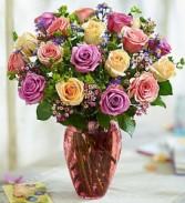 Rose Lovers Bouquet In Vintage Raindrop Vase