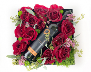 Rose-N-Wine Gift Box Gift Box with Roses